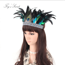 Hair Accessories Band 1920s Vintage Gatsby Gypsy Bohemian Holland Party Headpiece Women Flapper Peacock Feather Headband