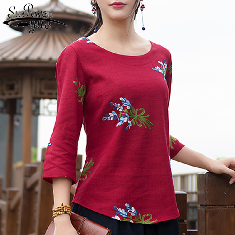 2018 fashion cotton linen women tops summer floral embroidery womens clothing loose plus size women shirt blouse blusas D852 30 ...