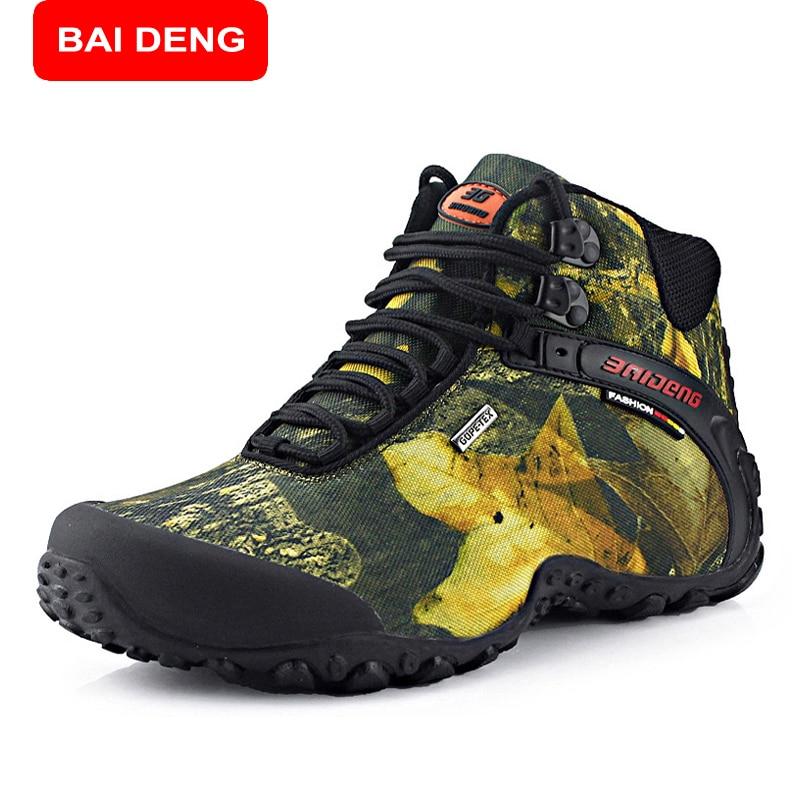 ФОТО BAIDENG New Brand Men's Hiking Shoes Outdoor Men Trekking Shoes Non-slip Waterproof Hiking Boots Mountain Climbing Shoes 8069