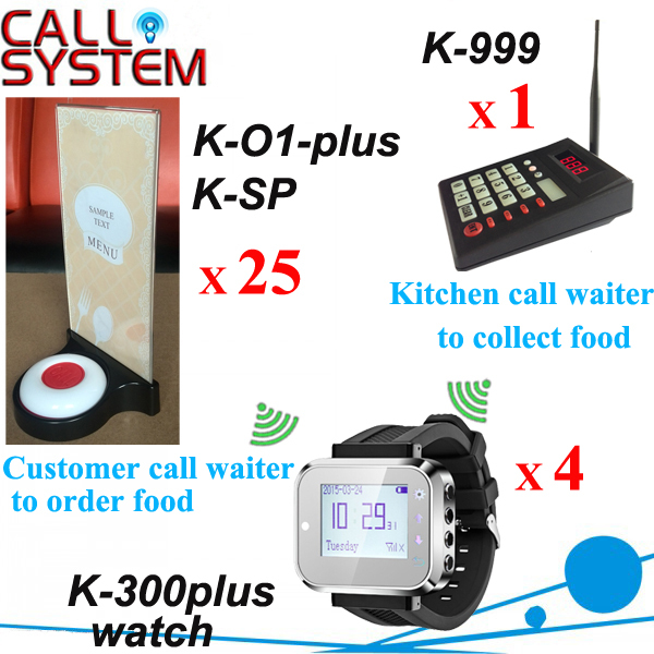 One set Electronic Wireless Call Calling System kitchen device W watch pager receiver and Guest buzzer Menu base restaurant call bell pager system 4pcs k 300plus wrist watch receiver and 20pcs table buzzer button with single key