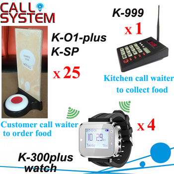One set Electronic Wireless Call Calling System kitchen device W watch pager receiver and Guest buzzer Menu base