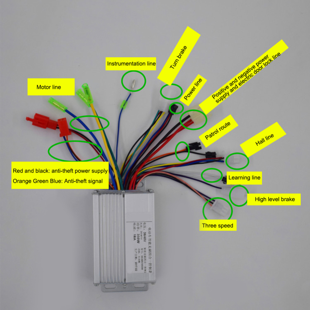 36V 48V DC Motor Controller 350W Electric Bicycle E-bike Scooter Brushless Hot Sale