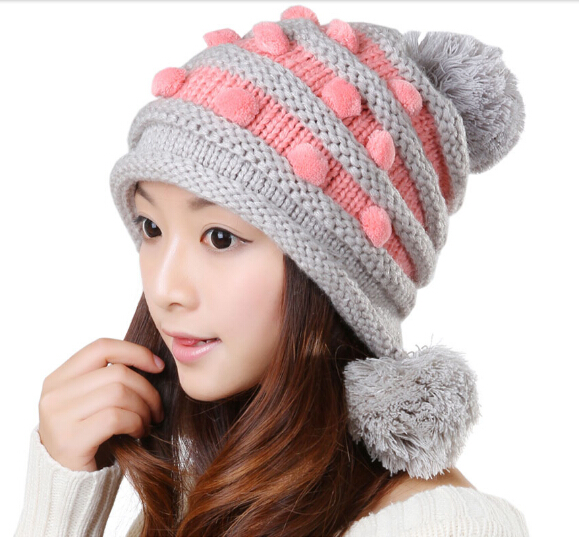 Bomhcs moda invierno tejer sombrero con bolas orejeras crochet ski Beanie  Cap sombreros calientes 9905952f58e4