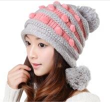 Cute Trendy Winter Knitting Hat With Balls Earflaps Crochet Ski Beanie Cap Hats Warm