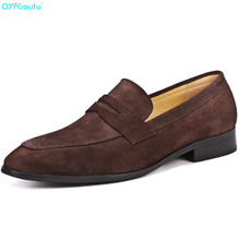 Fashion Genuine Leather Dress Shoes Men Loafers Suede Oxford Shoes