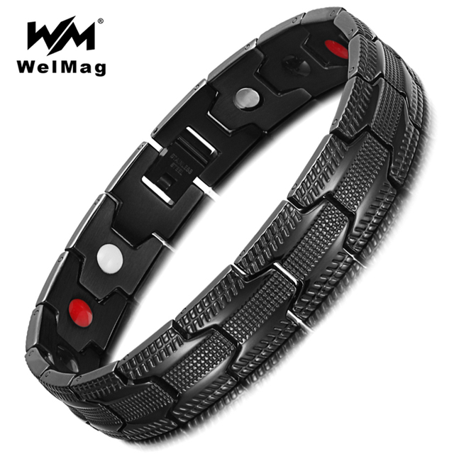 Welmag Male Magnetic Therapy Bracelet Benefits Bio Energy Hologram Bangles Healthy Jewelry 2018 Christmas Gifts