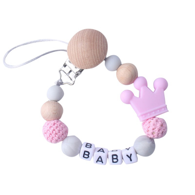 2019 Baby Care Crown Universal Natural Belt Silicone Bead Nipple Cartoon Chain Pacifier Wood Clip Holder Child