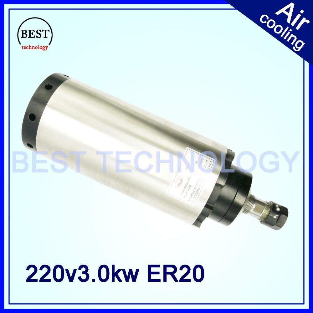 Купить 3kw с воздушным охлаждением двигателя шпинделя воздушного охлаждения ER20 чпу мотор шпинделя 3 kwfor ЧПУ гравировальный станок 105x233 мм 4 шт. подшипники дешево
