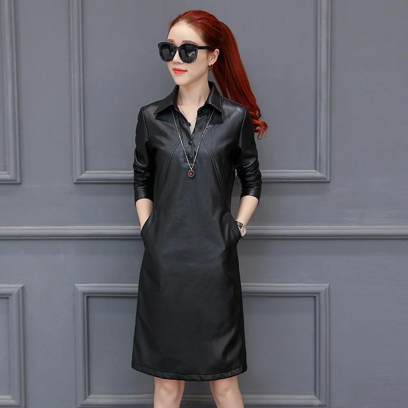 Pu Leather Dress Women Slim V Neck Long Sleeve Autumn Dress Plus Size 3XL Black Leather