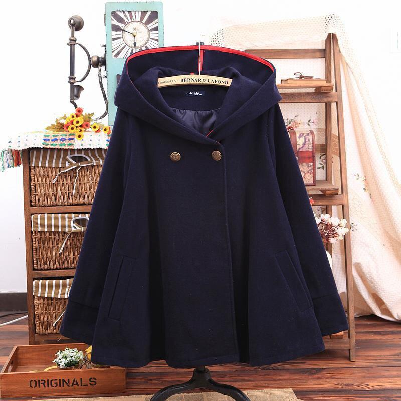Новая Осенняя Женская куртка-плащ, зимняя женская хлопковая шерстяная куртка с капюшоном, повседневное шерстяное пальто с длинным рукавом - Цвет: Dark blue