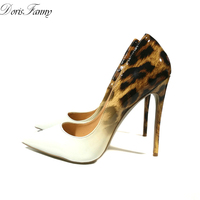 DorisFanny Genuine Patent Leather White Leopard Women wedding shoes ultra thin high heels pumps size 34 45
