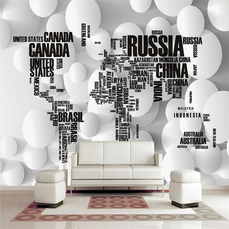 Custom World Map Bedding English Letters Circle 3d Wall Paper Extra Thick Modern 3d Wallpaper for Living Room Bedroom 3d Wall non woven bubble butterfly wallpaper design modern pastoral flock 3d circle wall paper for living room background walls 10m roll