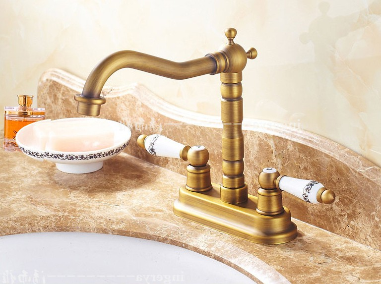 Antique Brass 4 Centerset Kitchen Bathroom Vessel Sink Two Holes Basin Swivel Faucet Dual Ceramics Handles Water Tap anf425Antique Brass 4 Centerset Kitchen Bathroom Vessel Sink Two Holes Basin Swivel Faucet Dual Ceramics Handles Water Tap anf425