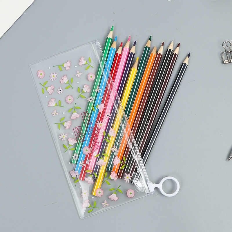 かわいい花の Pvc 防水ペンケースかわいいウサギのペンバッグボックスストレージオーガナイザー子供の学用品韓国文具