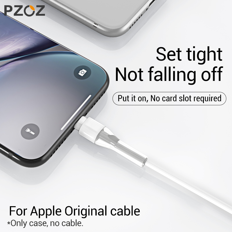 PZOZ USB Cable Protector For iPhone X XS Max XR 8 7 6 Plus 5 S PZOZ USB Cable Protector For iPhone X XS Max XR 8 7 6 Plus 5 S SE Cable Winder Protection Cord Saver For Original iPhone Cable