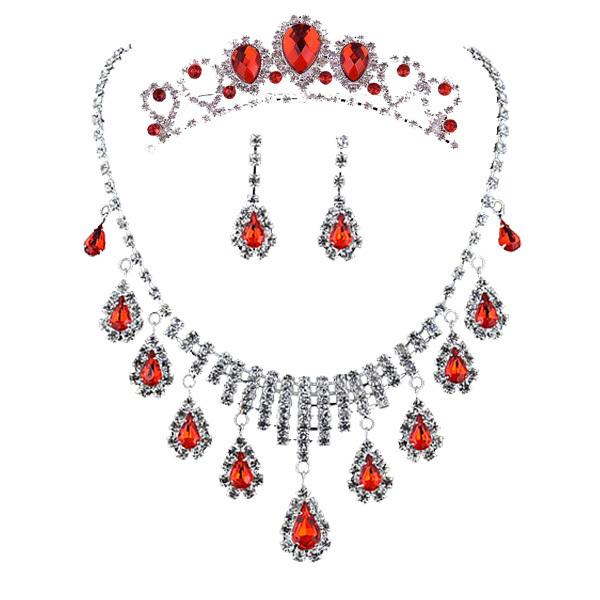 Muito bom vermelho colar de noiva jóias da coroa três-piece suit Coreano acessórios do casamento colar gota 3028