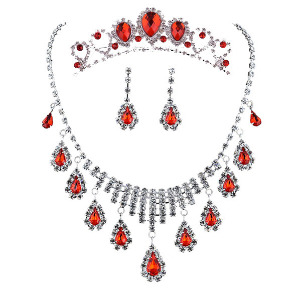 Pretty good red bridal necklace jewelry crown three-piece suit Korean wedding accessories drop necklace 3028