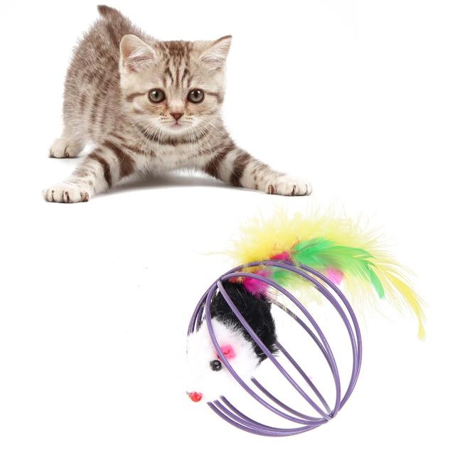 5 stücke Beliebte Neue Pet Katzenspielzeug Maus Feder Ball Schöne Kätzchen geschenk Lustige Kunststoff + Feder Maus Ball Beste Geschenk Für Haustier katzen