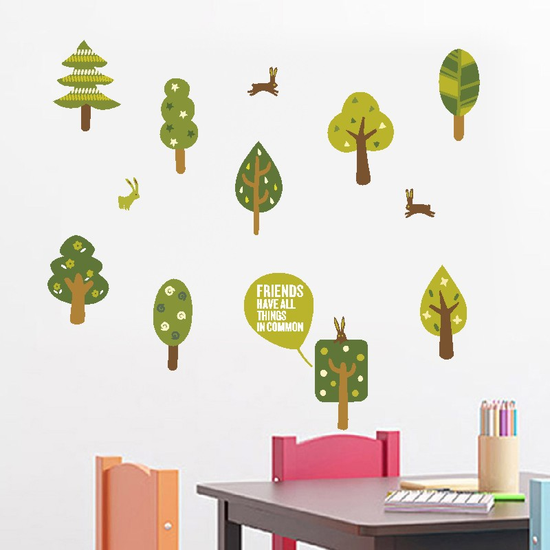 Balleenshiny Green Trees Wallpaper Pastoral Style Kids Room Living Room Decal Removable Home TV Sofa Background Sticker Decor