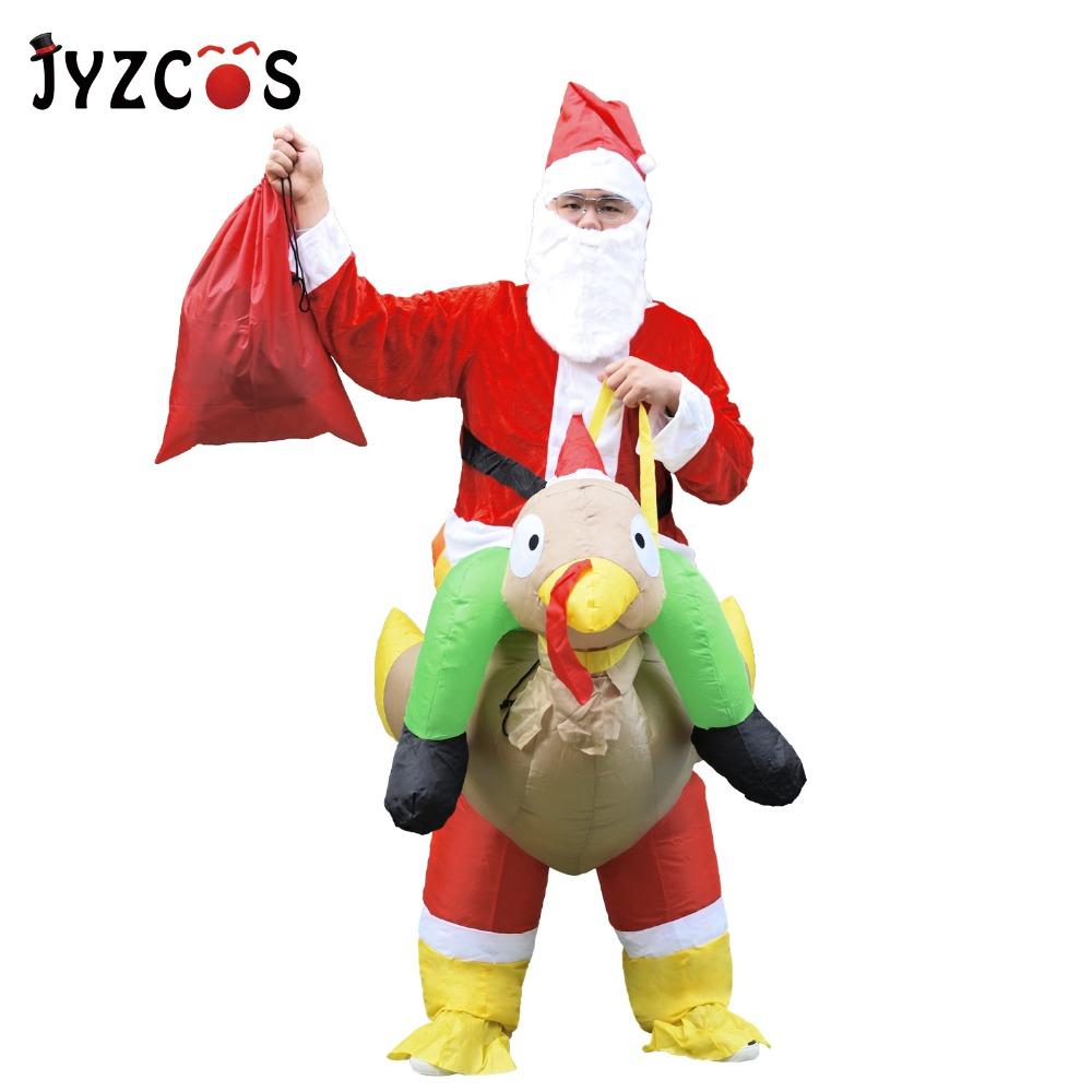 JYZCOS Christmas Inflatable Santa Claus Ride on Turkey Costume Olaf Snowman Fancy Dress for Men Women Adult Cosplay Party Outfit