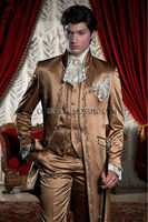 Classic Italian Style Morning Palace Suit 3 Piece Brown Satin Mens Wedding Prom Suits Embroidery baroque Jacket Groom Tuxedo