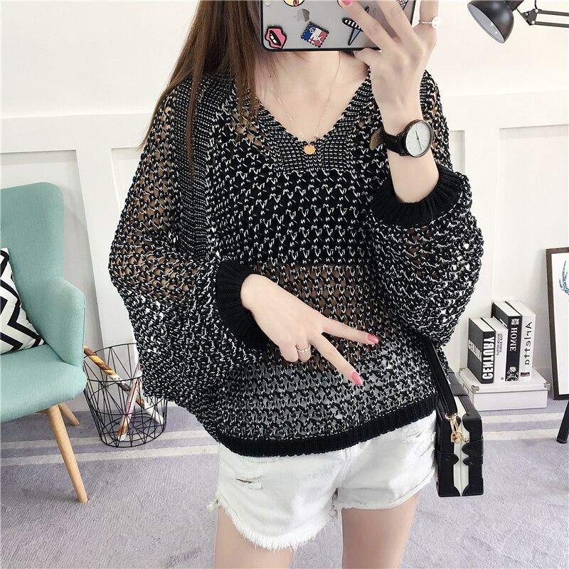 2018 Women's Summer Korean Gold Sweater Knit Sweater Large Size Women's Clothing Neck Blouse Loose Bat Shirt Sweater Top