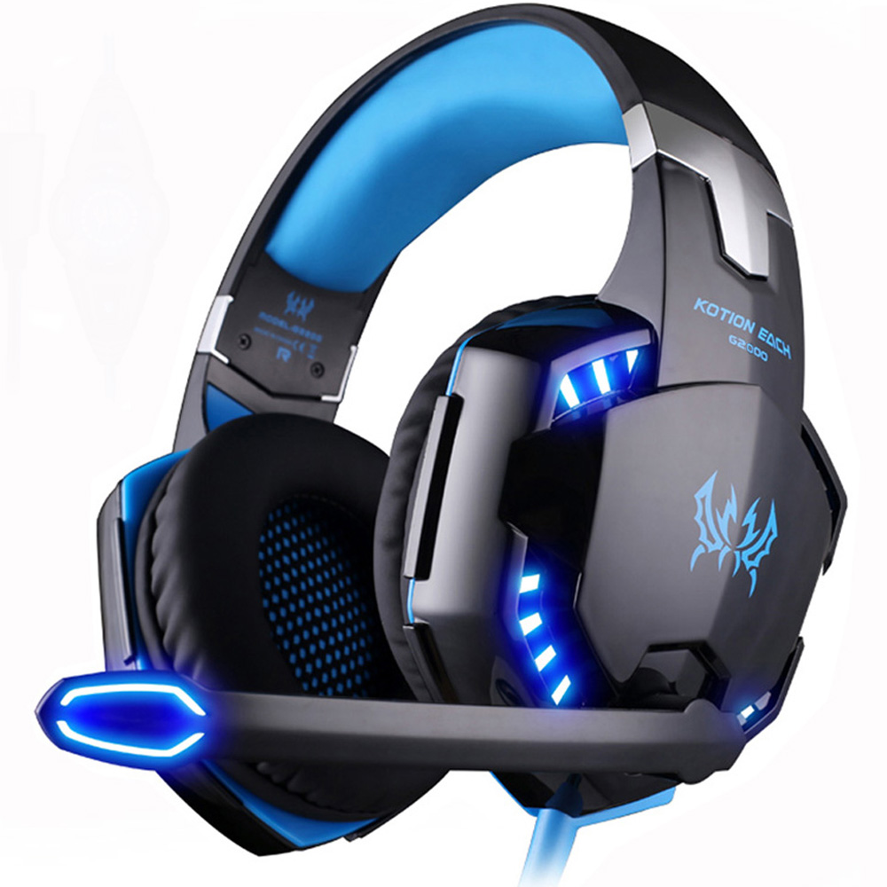 Kotion EACH Stereo Gaming Headset Casque Deep Bass Over Ear Headphones with Noise Cancelling Mic LED Light for Xbox One PS4 PC