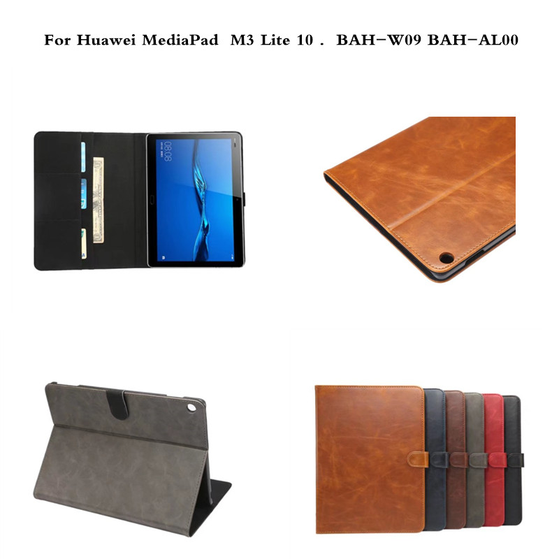 PU Leather Cover Luxury Tablet Skin Fundas Protective Stand Case For Huawei MediaPad M3 Lite 10 10.0 BAH-W09 BAH-AL00 Tablet for 2017 huawei mediapad m3 youth lite 8 cpn w09 cpn al00 8 tablet pu leather cover case free stylus free film