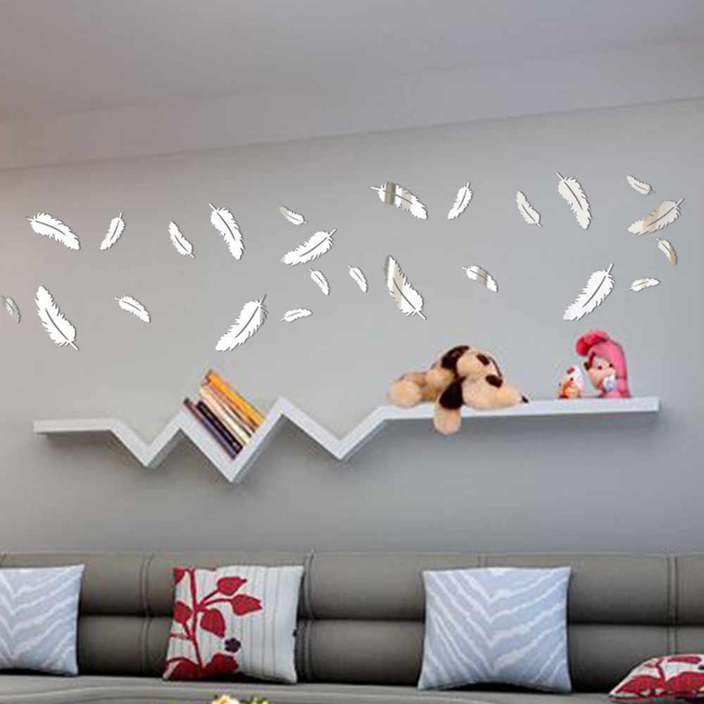 3d ملصقات الحائط مرآة نمط diy إزالة الريش الأسود الذهب والفضة الجدار شارات الفينيل الفن للجدران غرفة المعيشة ديكور المنزل