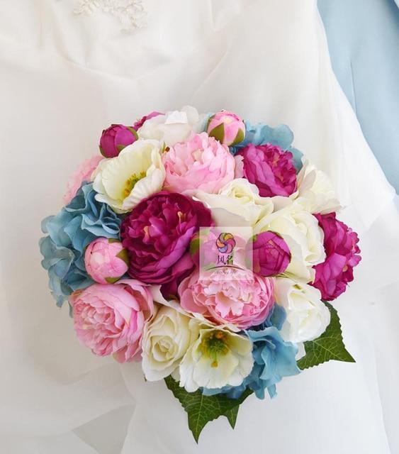 Dia 23cm Handmade Bridal Bridesmaid Wedding Bouquet Artificial Rose
