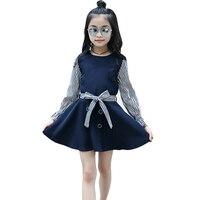 Children Princess Dresses For Girls Long Sleeve Striped Dress 2018 Spring Autumn Kids Prom Dress For