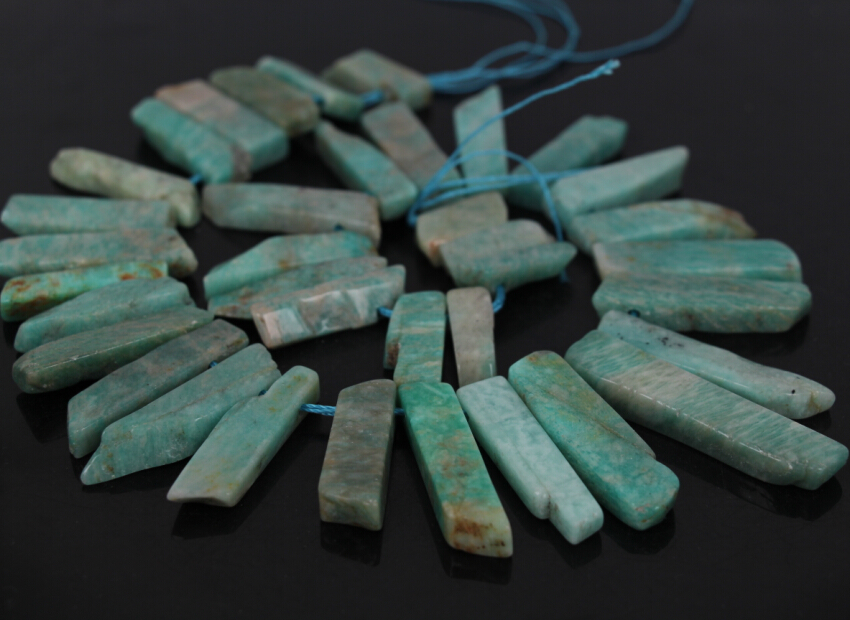 """15.5""""strand Natural Peru Amazonite Slice Top Drilled Point Beads,raw Amazonstone Slab Stick Pendant Nacklace Beads Jewelry Bulk Catalogues Will Be Sent Upon Request"""