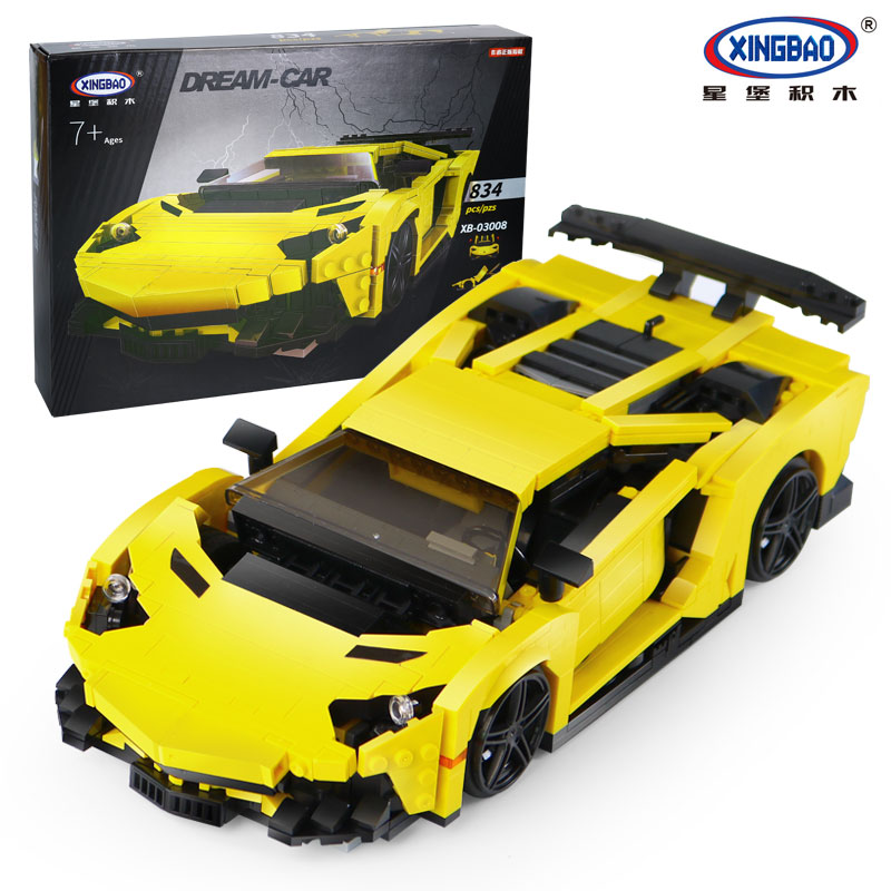 XingBao New 03008 Creative MOC Technic Series The Yellow Flash Racing Car Set Educational Building Blocks Bricks Toy Model Gifts