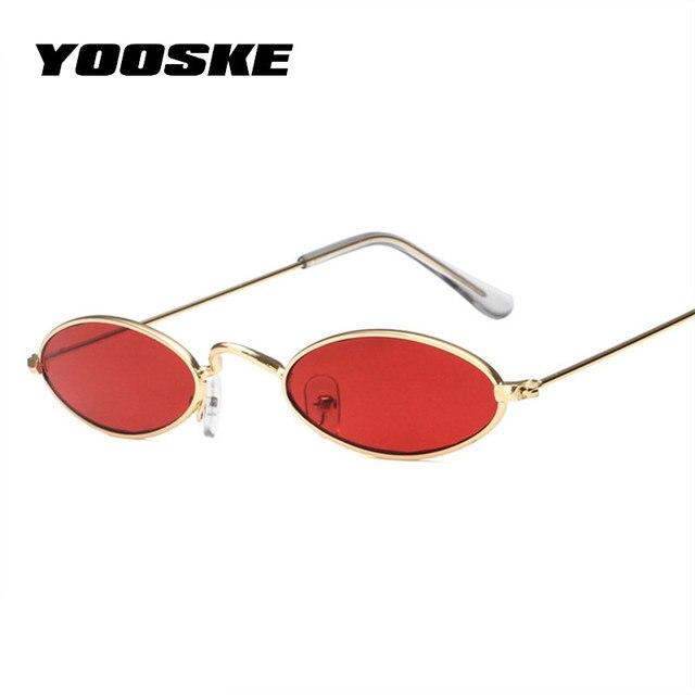 0cedd09d26 YOOSKE Skinny Oval Sunglasses Women 90s Vintage Small Cat Eye Sun Glassses  Men Metal Frame Tiny