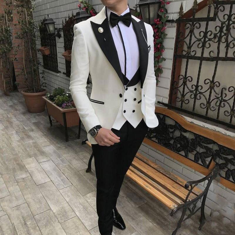 Последний дизайн цвета слоновой кости мужские свадебные костюмы черные остроконечные лацканы мужские блейзеры смокинги жениха зауженный
