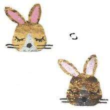 Shinequin двусторонняя нашивка с изображением кролика из мультфильма