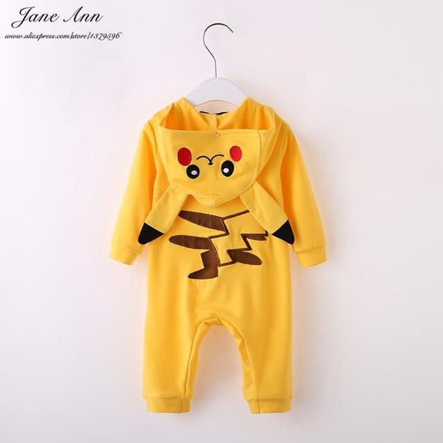 Детские пикачу костюм хэллоуин детская одежда младенческой малыша с длинным рукавом желтый с капюшоном мультфильм комбинезон пурим рождественский подарок