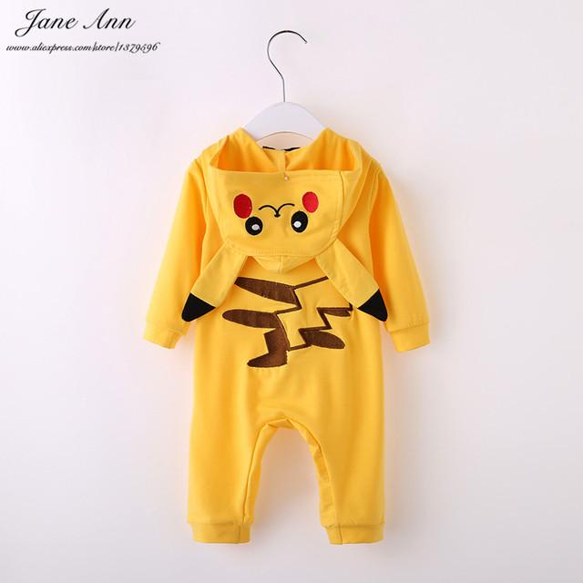 Bebé pikachu traje de halloween ropa de bebé infantiles del niño de manga larga amarilla de dibujos animados con capucha mono purim de regalo de navidad