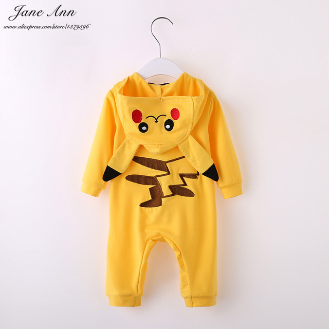 Pikachu traje de halloween roupas de bebê infantil do bebê da criança dos desenhos animados macacão de manga longa com capuz amarelo purim presente de natal