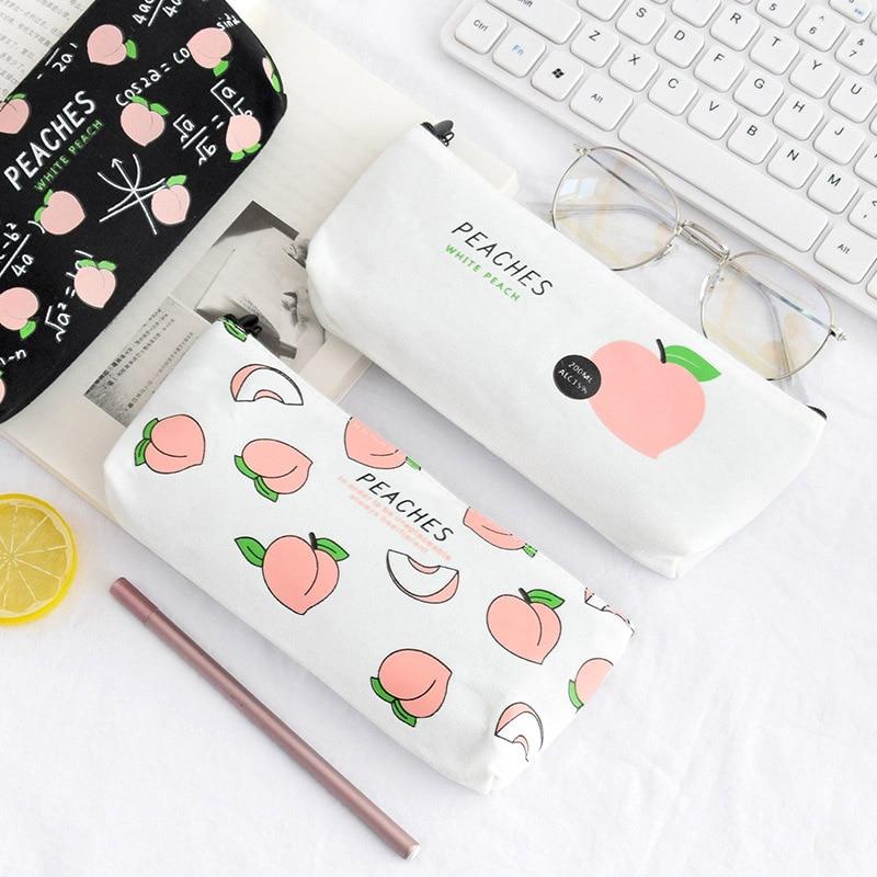 Juicy Canvas Peach Pencil Case Kawaii Pen Bag For Student Gift Cosmetic Bag Women Chancery School Supplies Stationery сейф гостиничный onix ks 16 170х230х170мм электр замок