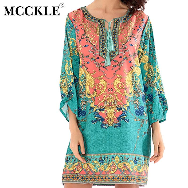 MCCKLE women summer dress 2017 vintage Boho print chiffon beach dresses Sexy V neck Half sleeve