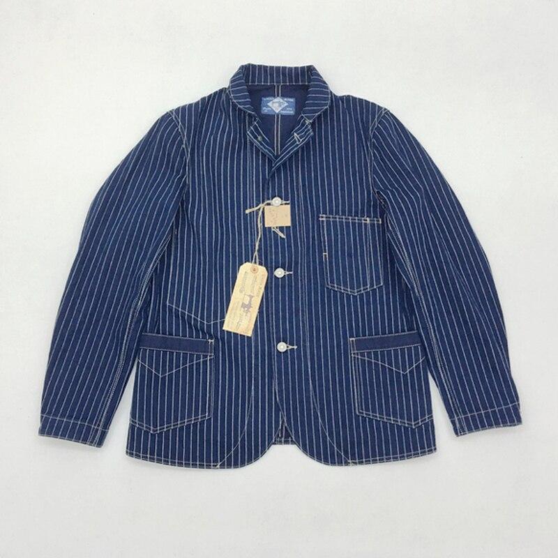 BOB DONG Réplication Wabash Indigo Fer Veste de Travail 12.5 oz Vintage Veste homme Rayé Outwear Printemps Manteau de Travail 44
