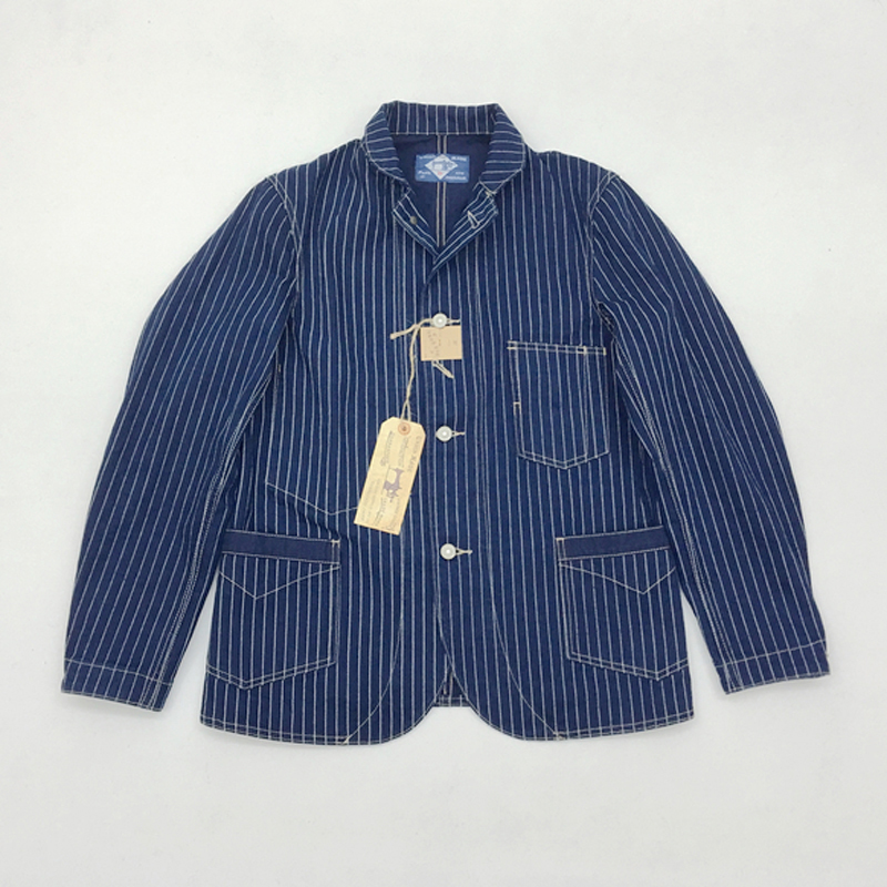 BOB DONG replicación Wabash Indigo ferrocarril chaqueta de trabajo 12,5 oz Vintage chaqueta de hombre a rayas abrigo de trabajo de primavera 44-in Chaquetas from Ropa de hombre    1