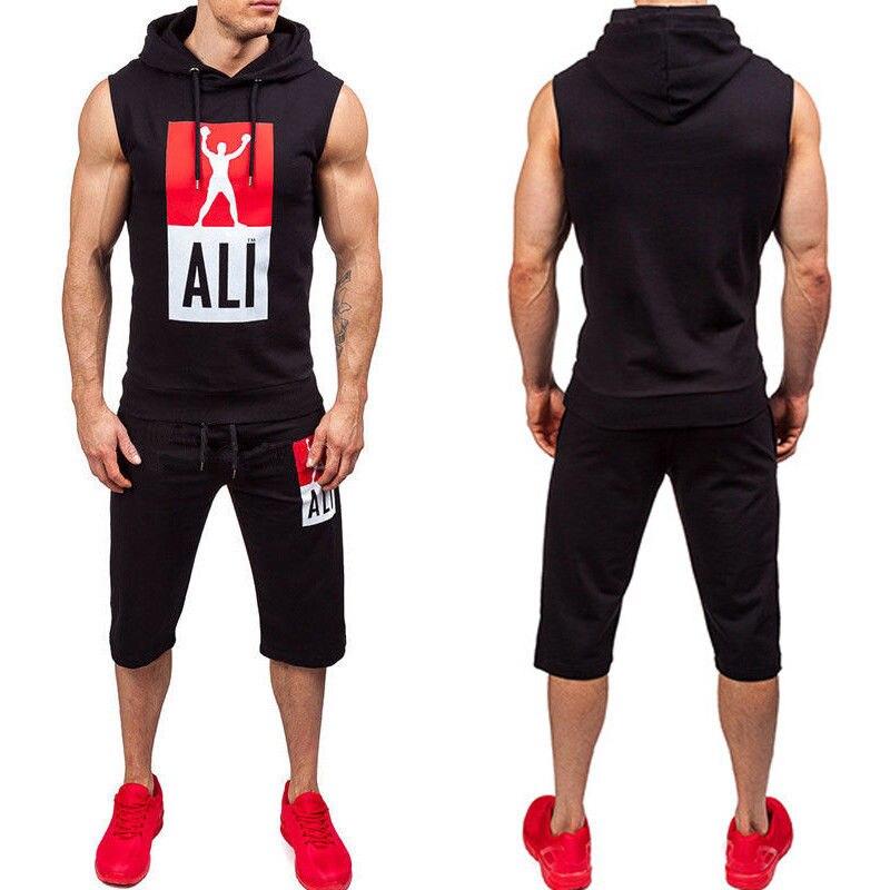 Hirigin Tracksuit Set 2 Piece Set Mens Track Suit 2018 Sleeveless Hooded Jogger Vest + Half Length Pants Fashion Sweatsuit Hot