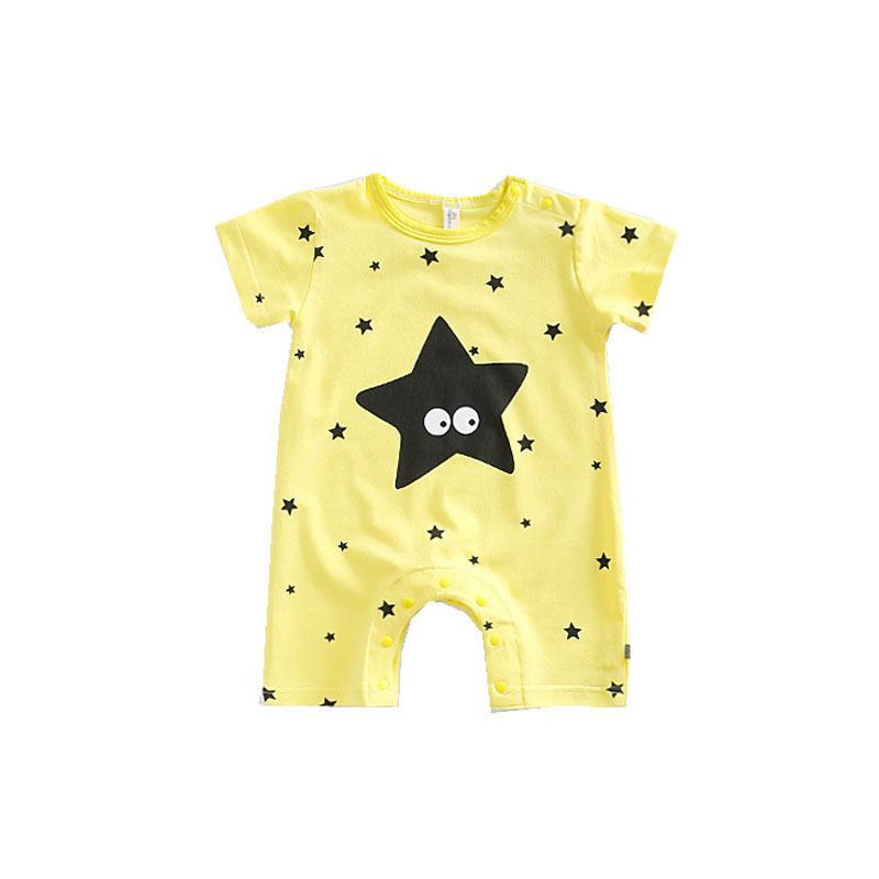 Cute Baby Clothing Summer Romper Newborn Boys Clothes Star Print Girls Jumpsuit Yellow Bebes Clothing Roupas Infantil