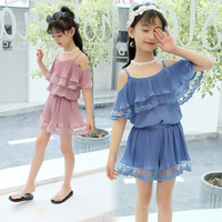 Summer New Product Girl Sleeveless Shoulder Camisole Shirts Shorts Suit Two Pieces Kids Sets