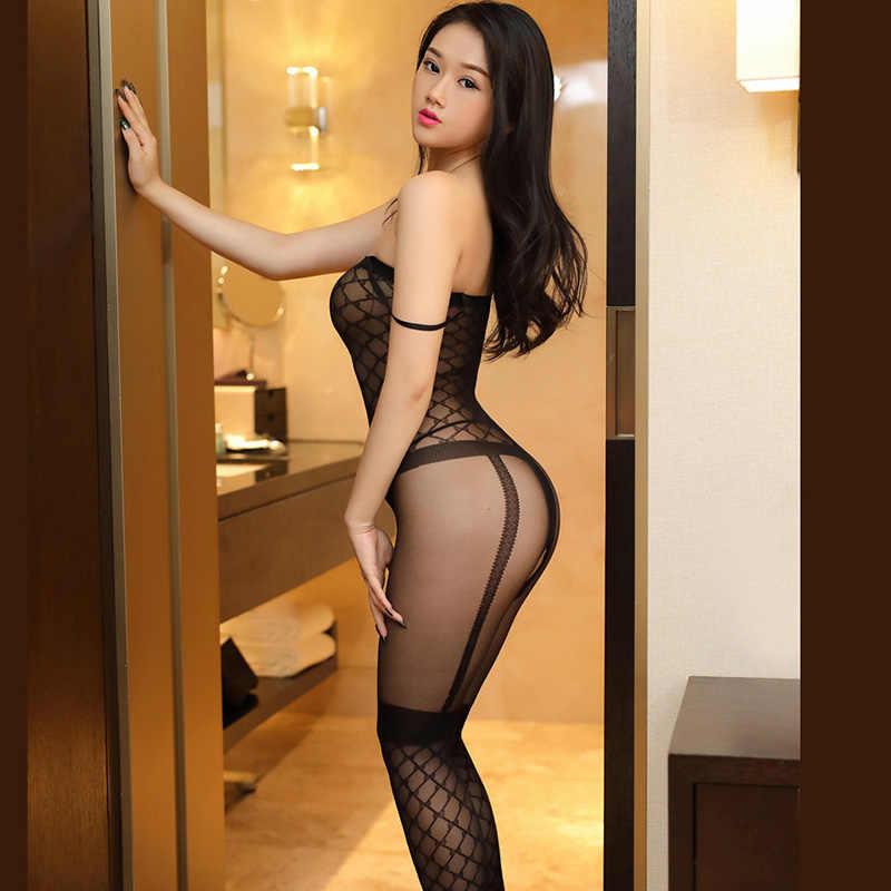 2017 Sexy negro rejilla Jacquard liguero cuerpo sin costura medias entrepierna abierta Lencería erótica transparente caliente arnés pantimedias