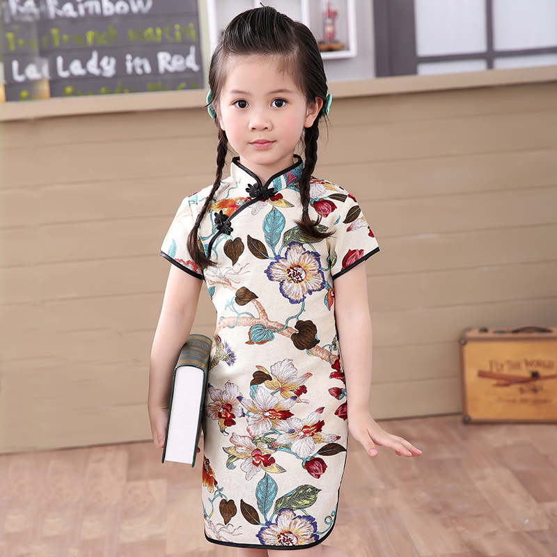 2020 Baby Girl Chinese Dress Qipao Clothes Summer Style Children Cotton Short Sleeve Traditional Dresses Fo Kids New Year Party
