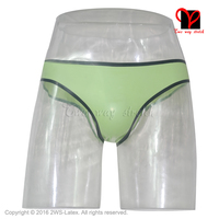 Groen en zwart versieringen Sexy Latex T String Rubber Ondergoed Gummi slipje shorts classic Underpants broek knickers bodems KZ-034