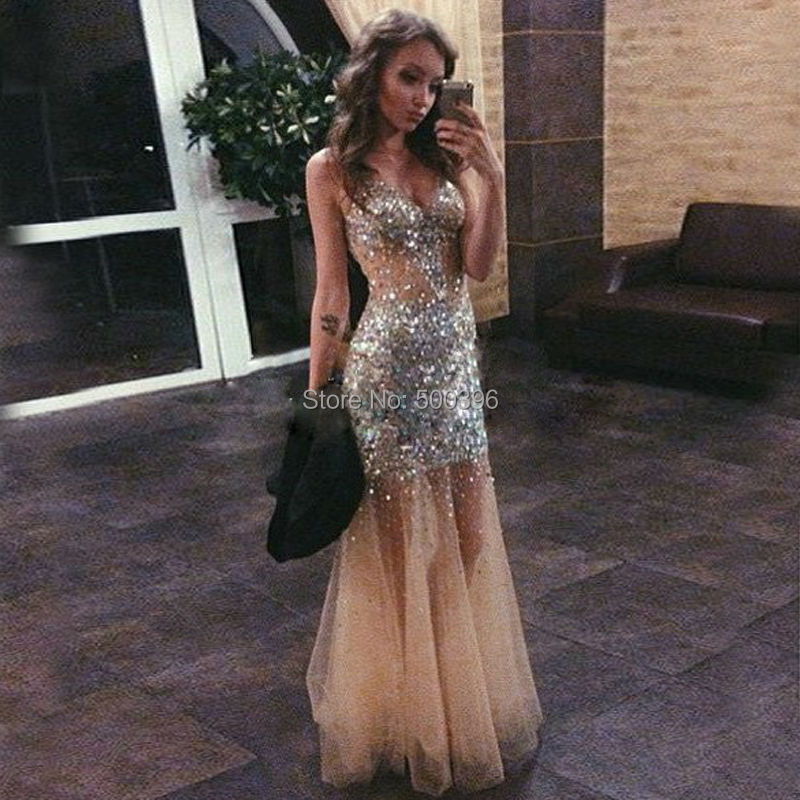 Luxury Crystals Prom Dresses Sexy Sheer
